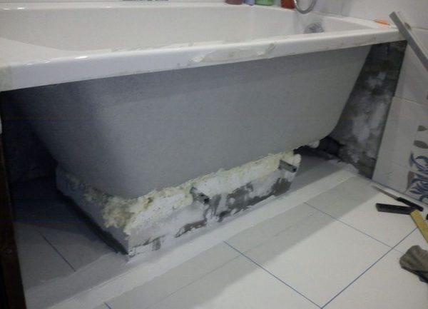 Герметизация стыков со стенами и полом с помощью монтажной пены
