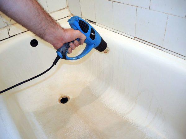 Сушка ванны строительным феном