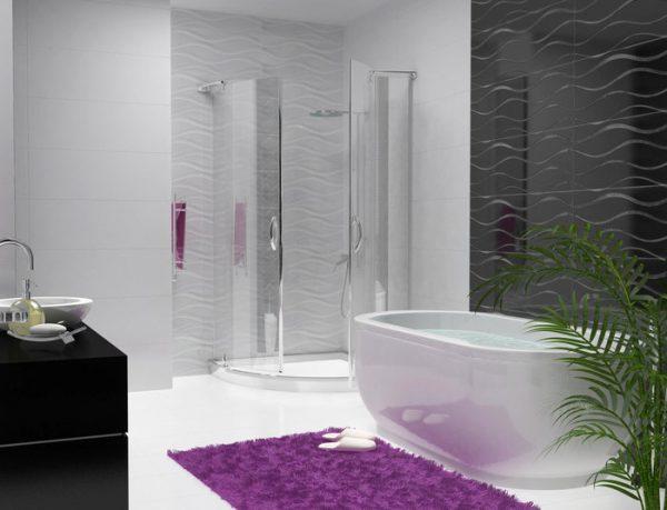 дизайн душевой комнаты в частном доме с кабиной и ванной