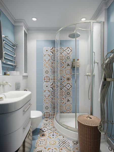 дизайн душевой комнаты в частном доме с мозаикой