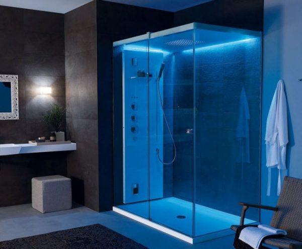 дизайн душевой комнаты в частном доме с подсветкой