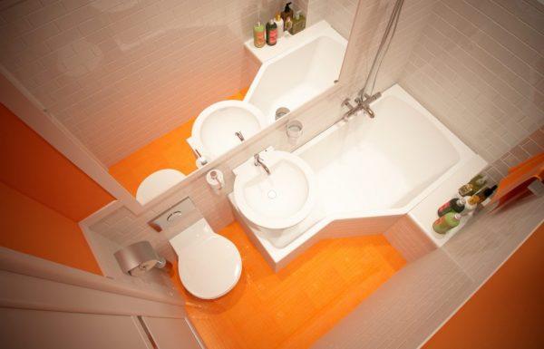 Бело-оранжевая ванная комната