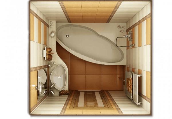 Ванная с разделением зон