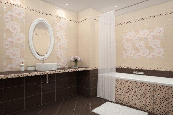 Варианты дизайна ванной комнаты, включающего отделку плиткой