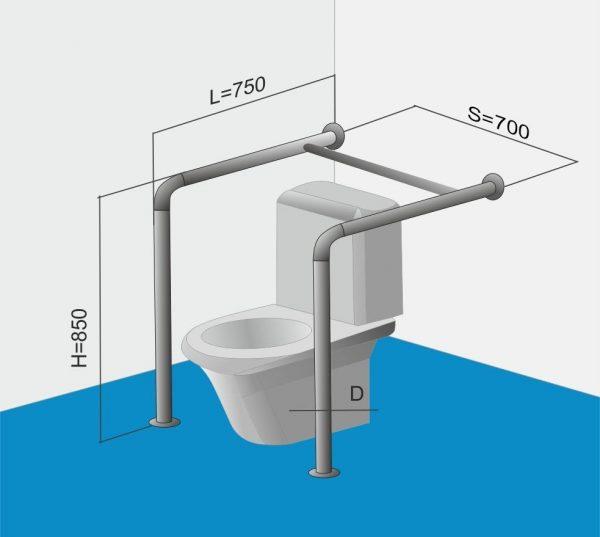 Замеры поручня для туалета