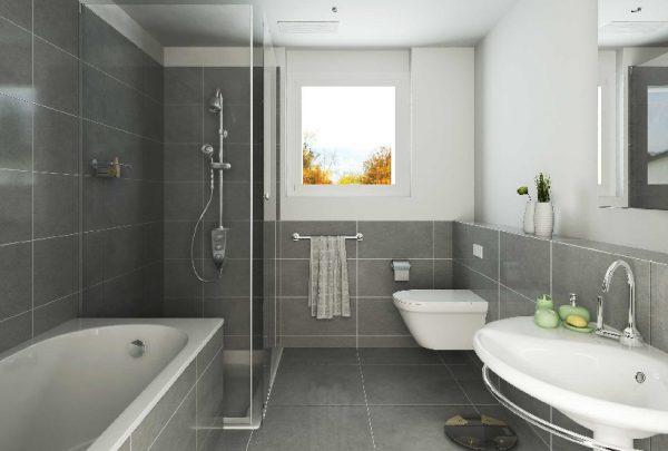 Ванная с серой плиткой