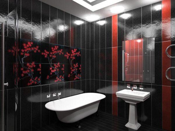 Чёрные и красные цвета в ванной