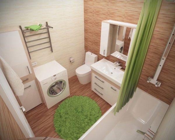Дизайн ванной комнаты с зелёными акцентами