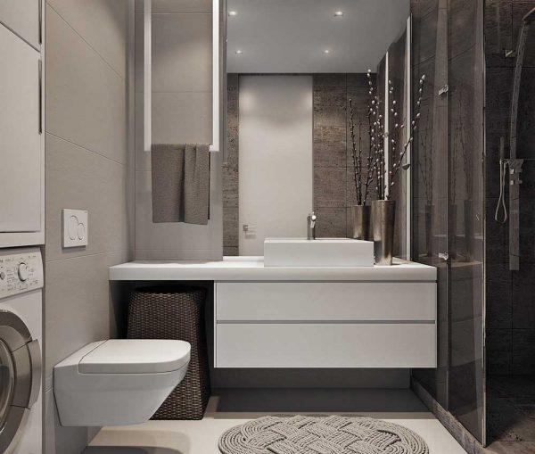 Современная ванная комната в белых и коричневых тонах