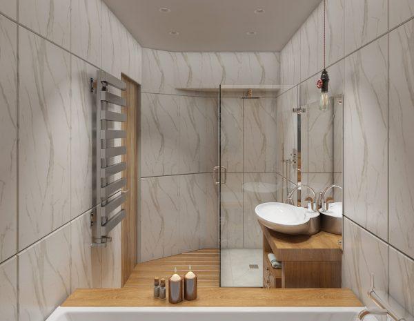 Ванная комната с деревянными элементами в дизайне
