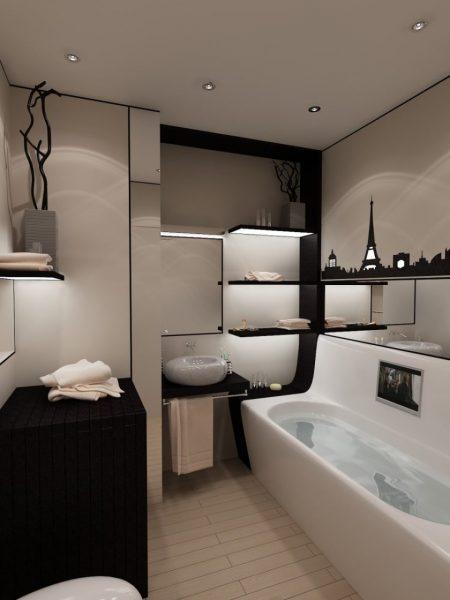 Ванная комната в чёрно-белых тонах с декоративной подстветкой