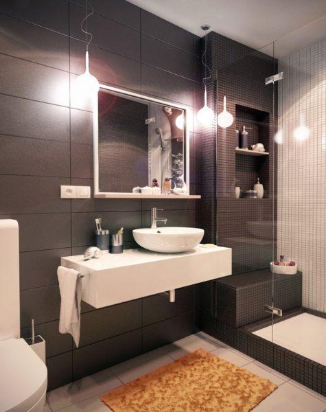 Ванная комната с коричневой крамической плиткой