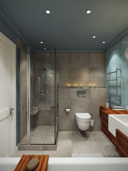 Ванная комната с душевой кабиной, синей стеной и потолком