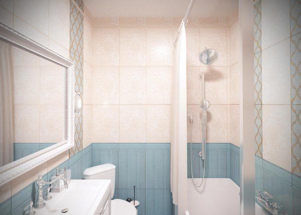 Нежный интерьер ванной комнаты в белых и голубых тонах