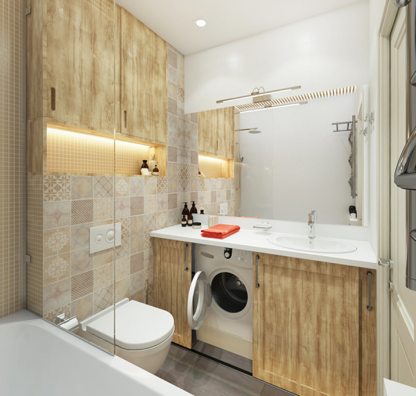 Деревянные шкафы в ванной