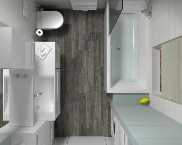 Прямоугольная ванная комната в хрущевке