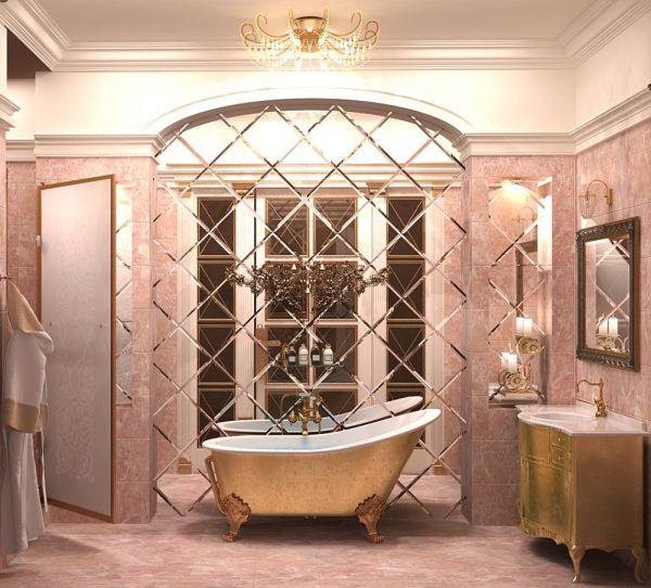 Зеркальная плитка в нише за ванной