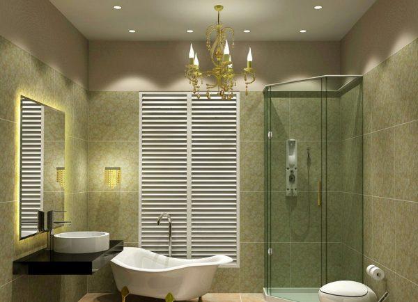 Верхнее освещение в ванной комнате