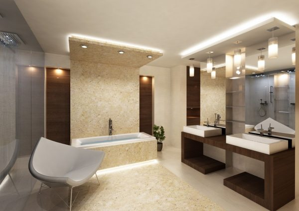 нижнее освещение в ванной комнате
