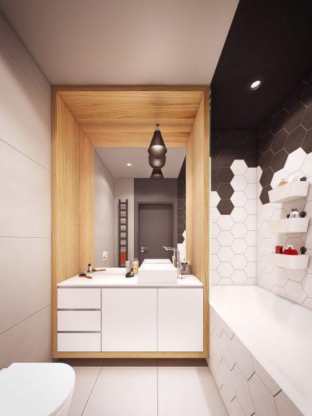 Чёрно-белая ванная комната с деревянными элементами