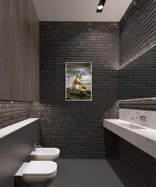 Туалет в стиле лофт