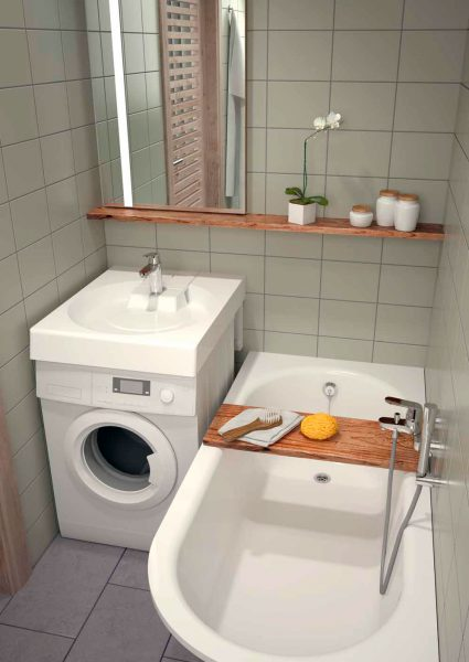 Стиральная машина под раковиной в небольшой ванной