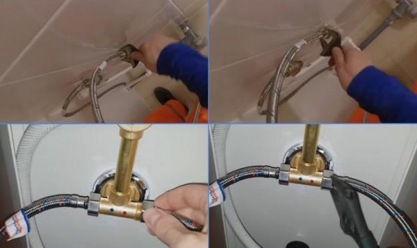 Подключение гибких шлангов с горячей и холодной водой