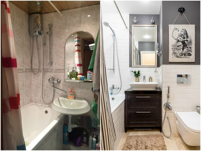 Ванная в хрущёвке: фото до и после ремонта