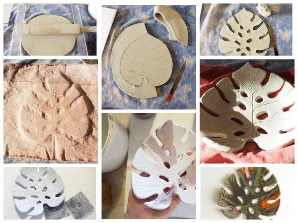 Глиняная мыльница в форме листа