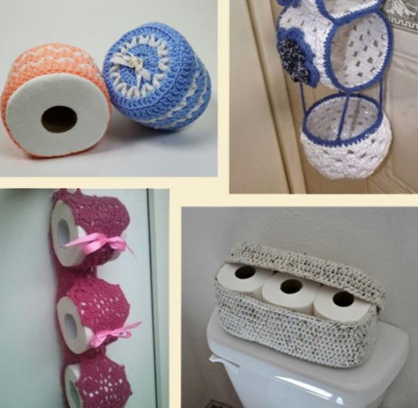Вязаные контейнеры для туалетной бумаги