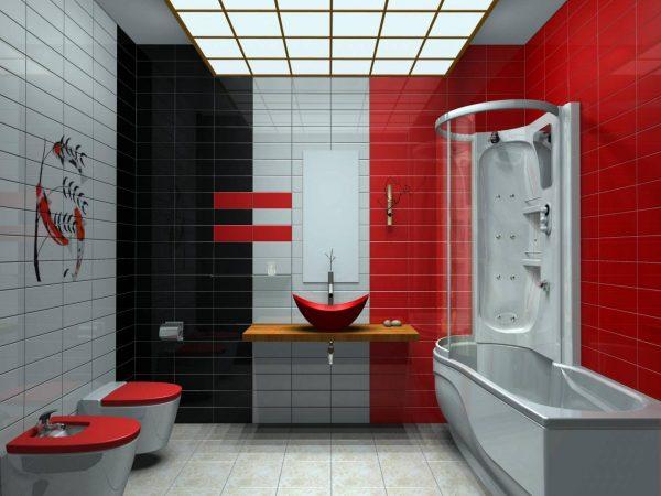 Черно красная ванная
