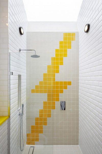Дизайн ванной с использованием жёлтого цвета