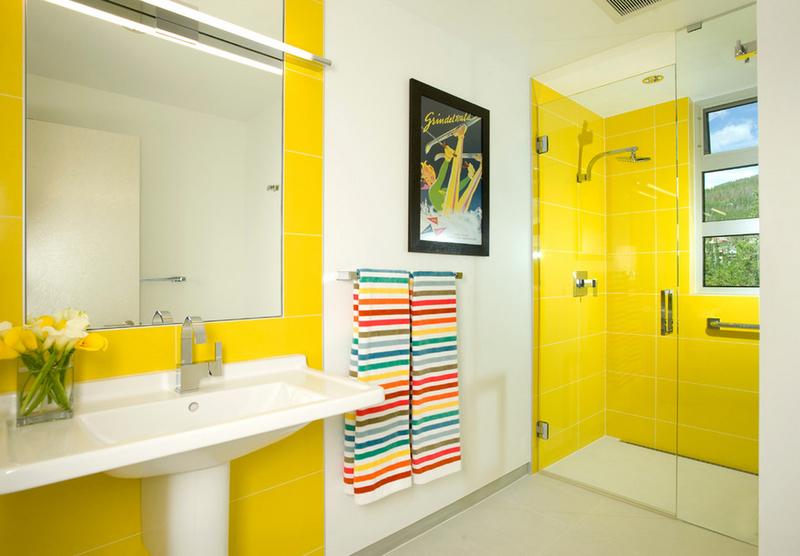 Ванная комната в жёлтых тонах: идеи дизайна на фото