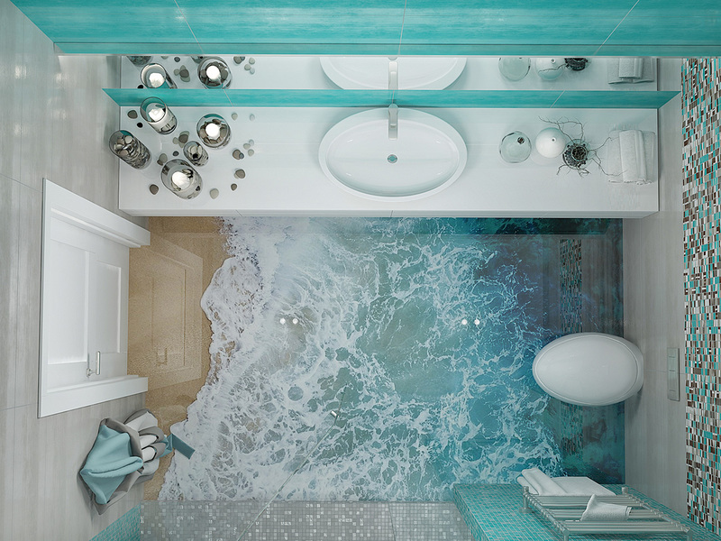 Маленькая ванная комната в морском стиле: идеи на фото