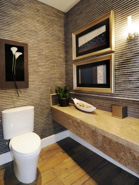 бамбуковые обои в туалете